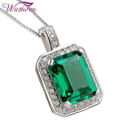 925 Sterling Silver Green Emerald White Topaz Pendant Chain Necklace For Women
