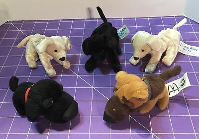Lot of 5 Stuffed Mini Dogs -3 Animal Alley and 2 McDonalds The Dog FREE SHIPPING