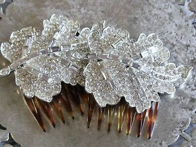Vintage French Rhinestone Leaf Hair Accessory Pair Flip Hinged Clip Comb Set