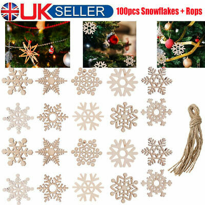 50 Wooden Christmas Baubles Christmas Tree Decoration Hanging Tag Shape Blanks