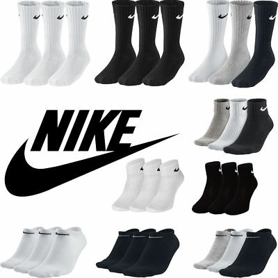 Nike Socks 1-3 Pairs Mens Womens Crew Ankle Quarter Cotton Socks Size UK 2-14