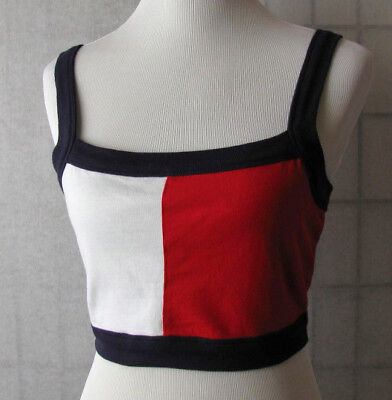 c8370a832bb Tommy Hilfiger Jeans Vtg Red White Blue Crop Top Tank womens M 7 8 9 Back
