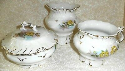 Oliver Co. Verus Porcelain Vintage Set Cup or Mug Lidded Soap Dish & Vase