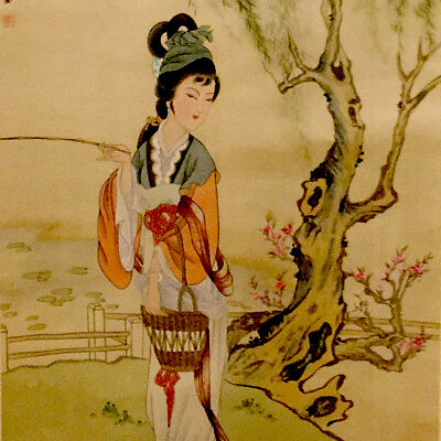 Antique Japanese Hanging Wall Scroll Landscape Asian Geisha Painting Beautiful!