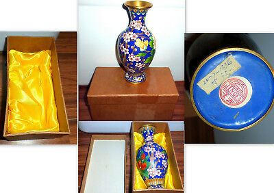 "Beautiful Jingfa 7"" Blue Floral Cloisonne Chinese Vase"