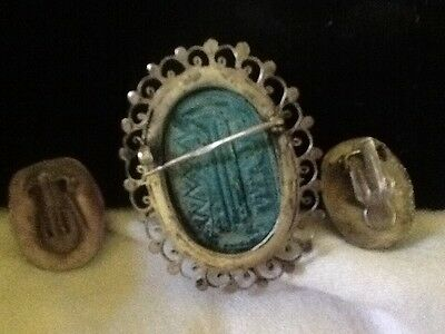 ANTIQUE EGYPTIAN SCARAB, Earrings, Brooc,Hieroglyphics, Handmade Silver Setting