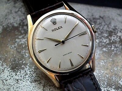 Beautiful 1959 Oversize 35mm Solid 9ct Gold Rolex Precision Gents Vintage Watch