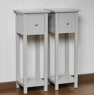 Pair of 1 Drawers Small Grey Bedside Cabinet  Storage Table Nightstand Bedroom