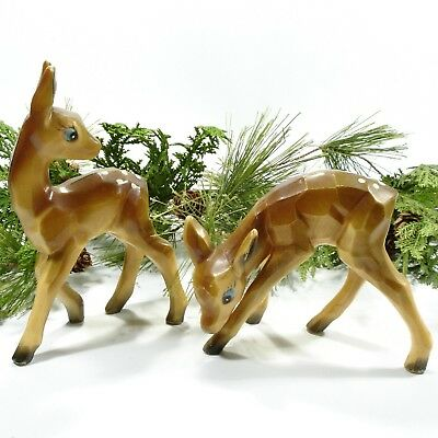 Vintage Pair of Plastic Deer, Made in Hong Kong, Carved Appearance, 1960's