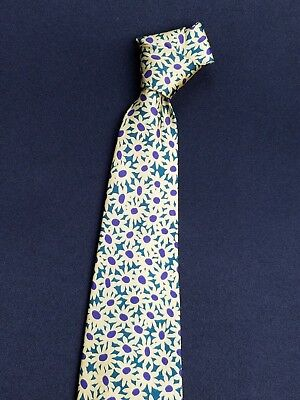 Hugo Boss Made in Italy 100% Silk Geometric Paisley Yellow Daisy Men's Necktie