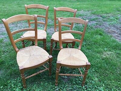 Set Of 4 Rush Seat Dining Chairs 47 48 00 Picclick Uk