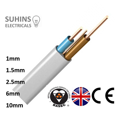 Twin and Earth Cable  6242y 1mm 1.5mm 2.5mm 6mm 10mm Electrical Wire Premium UK