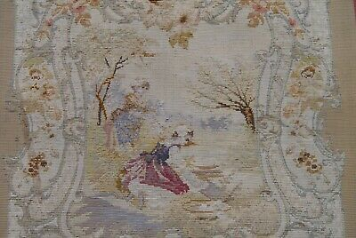 """2'6"""" X 2'8"""" Antique Hand Woven Pictorial French Aubusson Wool Framed Rug,1850"""