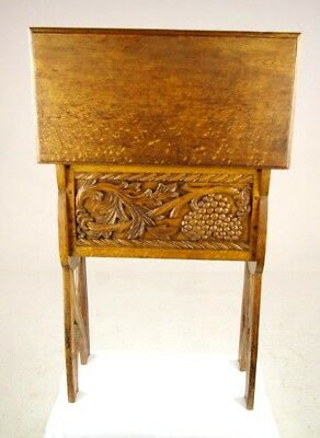 Antique Lift Up Bench, Carved Oak Chest, Stool,1900, Antique Furniture, B1221