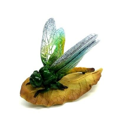 Blue Green Dragonfly on Leaf Figurine Garden Insect Statue Collectible New