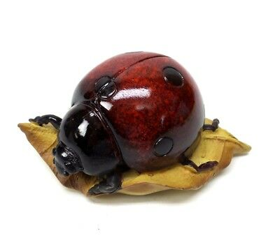 Red Ladybug on Leaf Figurine Garden Insect Statue Collectible New