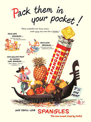 Ss03 Vintage Spangles Sweets Advertising A4 Poster Print