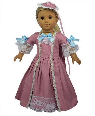 "Doll Clothes 18"" Colonial Dress Mauve Gown Hat Fit American Girl Dolls"