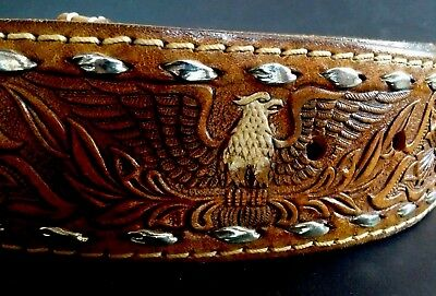 "Vtg 3X NOS 49-57"" TOOLED American Eagle Full Grain Leather WESTERN BELT w Lacing"