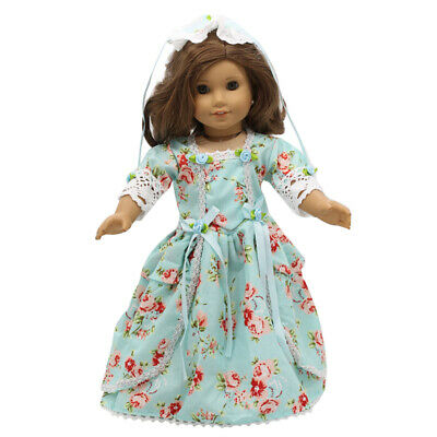 """Doll Clothes 18"""" Colonial Dress Light Teal Floral Fits American Girl Dolls"""