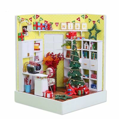 Christmas Wooden Mini Doll House Room Diy Handmade Furniture Miniature Toy Gifts