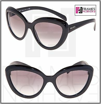 ddd49142f5 PRADA ORNATE 08R Shiny Black Cat Eye Sunglasses Gradient PR08RS Authentic  Women