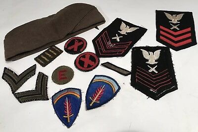 Original WWII US Military Patch & Hat Lot Army Navy Some Dated 1944 1942