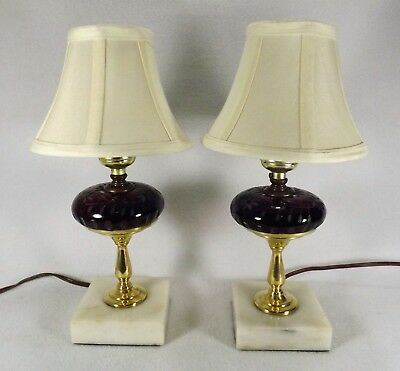 Pair Antique French Bedroom Lamps w/ Ruby Cut to Clear & Solid Brass Marble Base