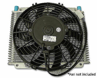 """PWO1223SP PWR Trans Oil Cooler 280x255x19mm -6AN With 11"""" Spal Mounts *NO FAN*"""