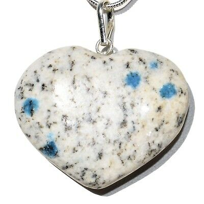 "CHARGED K2 Granite (Azurite) Crystal HEART Perfect Pendant™ + 20"" Chain"