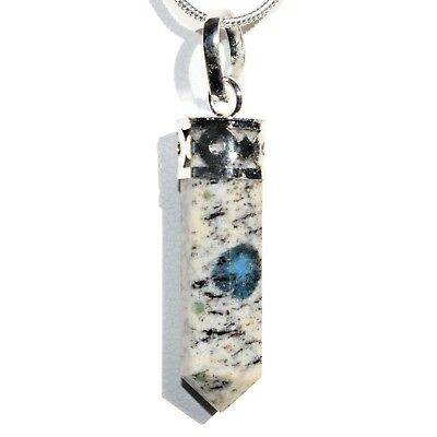 "CHARGED Faceted K2 Granite (Azurite) Crystal Perfect Pendant™ + 20"" Chain"