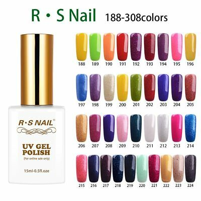 RS NAIL UV Gel Nail Polish LED Soak Off Upgrate Glitter Hybrid Gel Colour 15ml