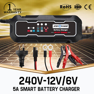 AGM Battery Charger 6V / 12V 5A Maintainer Car Motorbike Deep Cycle SLA MF
