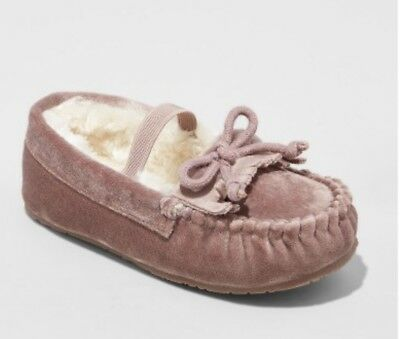 4974ae2107e9 NEW CAT   JACK Toddler Girls Celina Moccasin Slippers-Pink w faux fur XL