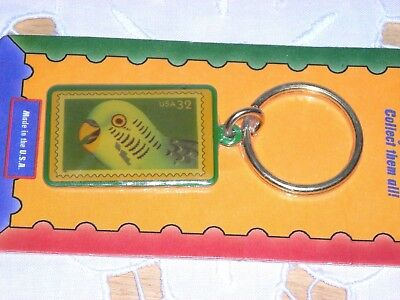 NEW in PKG ~ PARAKEET BUDGIE O RING KEYCHAIN KEY CHAIN ~ BIRD KEET