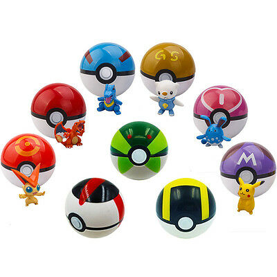 9pcs Set Pokemon Pikachu Pokeball Pop-up Master Great Ultra GS Toy XMAS Gift AU