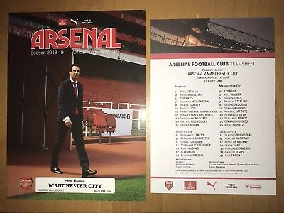Arsenal v Manchester City (Man City) Programme And Team Sheet 12th August 2018