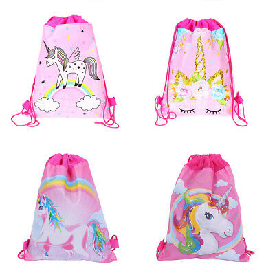 1PC Cartoon Cute Unicorn Drawstring Backpack School Sport Bag Kids Girls Gift