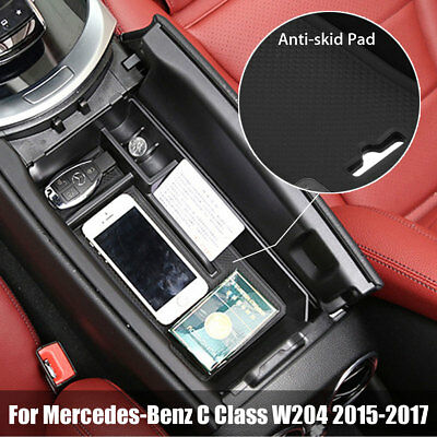 For Mercedes-Benz C Class W204 Car Storage Box Central Console Tray Armrest Case