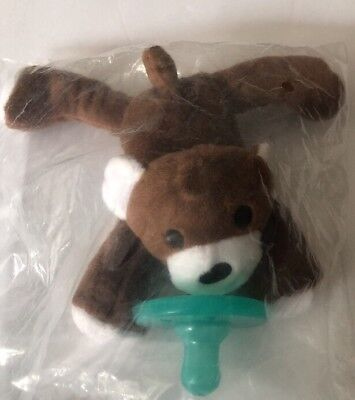 NEW - Stuffed Brown Bear, Silicone Pacifier, Nuk, Nub- Infant, Baby (0-6 Months)