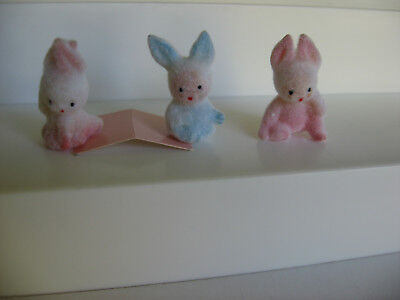 3 vintage plastic fuzzy flocked baby in rabbit costume figures dollhouse crafts