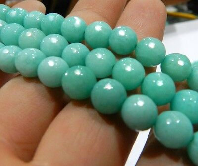 """Faceted Brazilian Aquamarine Gems Round Loose Beads 15"""" Strand YL011 10mm Blue"""