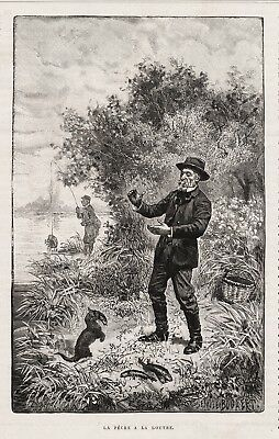 Otter Trained Otter Brings Fish, Fishing for Fisherman, 1880s Antique Print