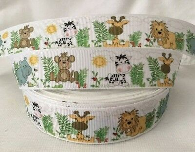 "Jungle Animals Grosgrain Ribbon sold by 2m Ribbon is 1"" wide"