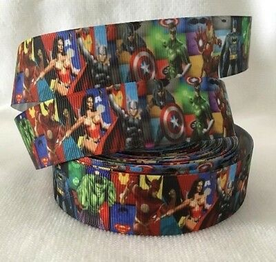 "Super heroes- Batman, Wonder woman,Hulk,Thor Grosgrain Ribbon 1"" sold by 2 M"