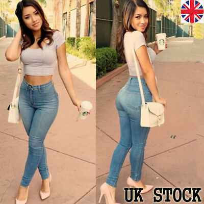 UK Womnes Ladies High Waisted Jeans Long Denim Jegging Pants Trousers Size 10-18