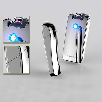 Electric Plasma Lighter Double Windproof Flameless USB Rechargeable Torch Silver