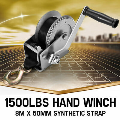 1500LBS Recovery Hand Winch 2-gear Synthetic Strap Boat Trailer 1500LB 4WD 4X4