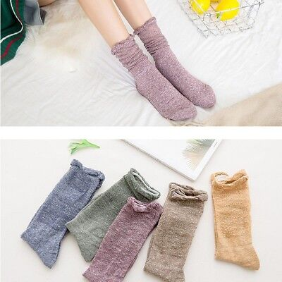 3 Pairs Women Girls Hollow Thin Loose Ankle Socks Ruffle Solid Casual Fashion