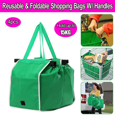SHOP SMART BAG Supermaket Shopping Cart Foldable Reusable Grab Bags 4PCS